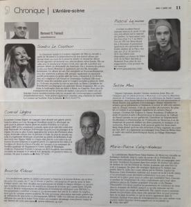Conrad Légère - Chronique L'Arrière-scène