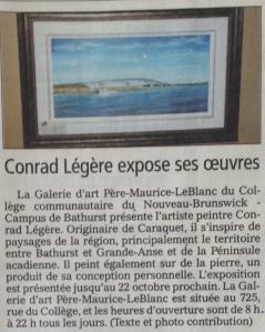 Conrad Légère expose ses oeuvres