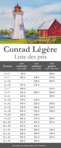 Liste de prix : Conrad Légère